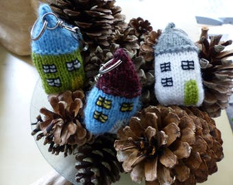 Funny knitted keychain Tiny house.
