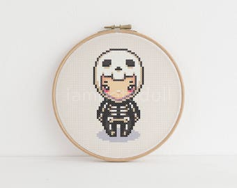 Skeleton - a cute pixel art counted cross stitch pattern