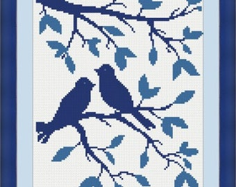 "Birds Cross Stitch Pattern ""Birds on the Tree"", PDF Format Instant Download, Needlecraft, Modern cross stitch pattern, Easter gift, Hobby"