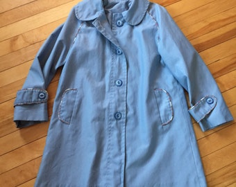 Vintage Girls 1980s Blue Plaid Spring Fall Jacket Coat! Size 7