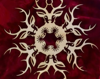 """Game of Thrones House Baratheon Laser Cut Wood """"Snowflake"""" Ornament"""