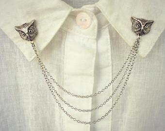 owl collar pins, owl brooch,  collar chain, collar brooch, lapel pin, owl pin, bird brooch, owl jewelry, bird pin, bird jewelry