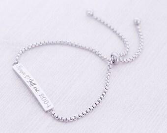 Adjustable Engraved Bolo Bracelet - Bar Bracelet - Adjustable Bracelet - Stainless Steel Jewelry - Engraved Bracelet - Engraved Jewelry