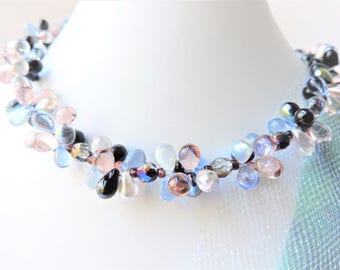 Beaded Necklace Pink and Blue with Earrings Set