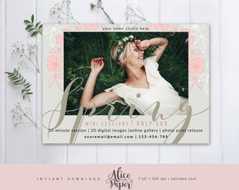Spring Mini Session Template, Spring Mini Sessions, Marketing Board, Photoshop Template, Photography Marketing Set, PSD
