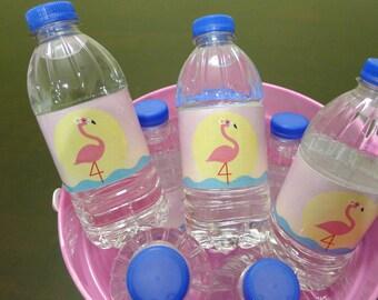 Pink Flamingo Bottle Labels Girls Fourth Birthday Party DIY Digital Printable -- Water / Pool / Beach / Summer Parties