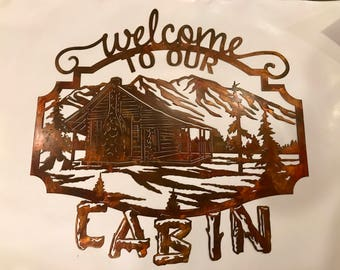 welcome sign. this is made from 14 gauge mild steel. this measures @31 inches wide