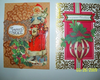Set of two Christmas greeting cards