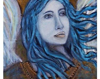 Angel In Divine Communion, Original Fine Art 8 by 10 Print by Charlotte Phillips