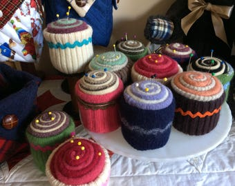 cupcake, up-cycled, felted wool pincushion