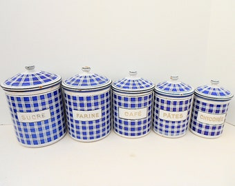 Set of 5 BB Enamelware / Graniteware Blue & White Checkerboard French Canisters (C030)