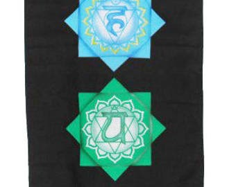 Chakra Art Silkscreened Vertical Black Cotton Banner