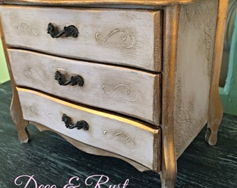 Paris Apartment French Chic Antique style painted Jewelry Box Chest