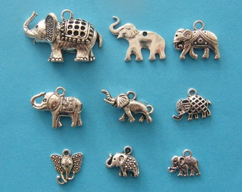 The Elephant Collection - 9 different antique silver tone charms