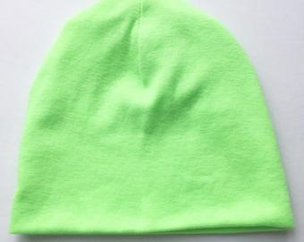 Bright green kids beanie hat