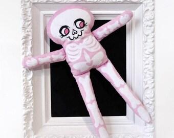 Soft Minky Skeleton Doll - Pink