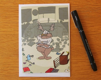Christmas Card - Santa's Reindeer - Comet - Cute Card - Greetings Card