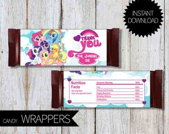 My Little Pony Birthday Party PRINTABLE Candy Wrappers- Instant Download | Little Pony Friendship is Magic | Chocolate Wrapper
