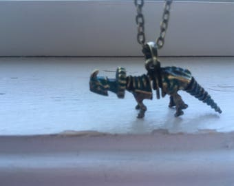 Triceratops Dinosaur Necklace -Dinosaur Skeleton Necklace -Paleontologist Necklace - Free Gift With Purchase