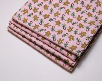 Sugar Plum Christmas by Bunny Hill Designs for Moda Fabrics, Pink, Gingerbread men 100% High Quality Cotton By the FQ 1/4 yd