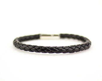 Black Braided Bracelet, Braided Men Bracelet, Black Leather Bracelet, Mens Black Bracelet, Men Bracelet, Leather Bracelet, Boyfriend Gift,