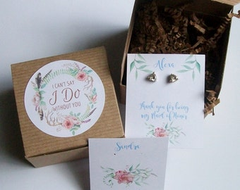 Will You Be My Bridesmaid Favor, Maid of Honor Gift Box, I Cant Say I Do Without You RUSTIC BOHO - Earring Cards, Recycled Paper Fill
