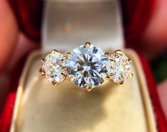 "The ""Maria"" Victorian Inspired 3.3ct GIA G/VS1 Diamond Three Stone Ring by CvB"