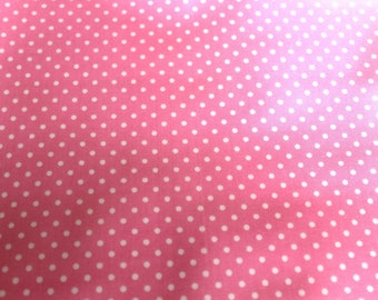 50 x 50 cm pink and white polka dots coated fabric