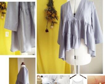 Layered ruffle V neck blouse