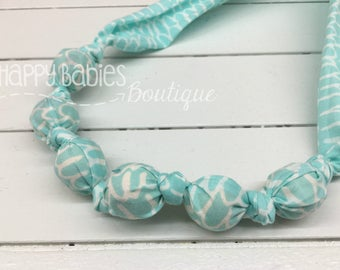 Organic Cotton Nursing Teething Necklace, Aqua Scribble