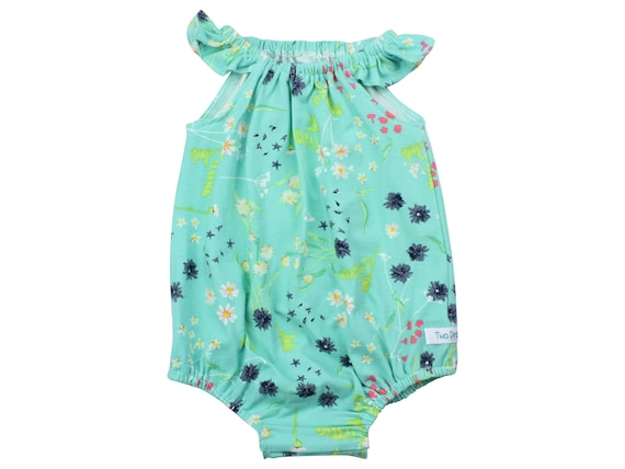Baby Romper with Snaps Aqua Floral Baby Romper Summer Floral Romper Modern Baby Romper Flutter Sleeve Romper Knit Romper Wild Flower