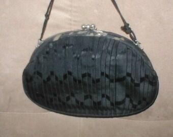 RARE 1930's Black  pleated Silk Evening Purse