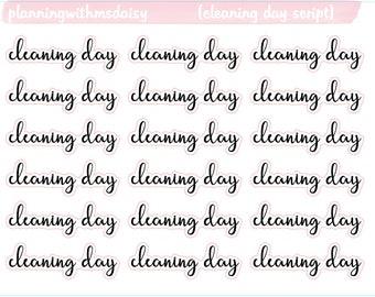 Cleaning Day Script Stickers (Choose from 2 fonts)