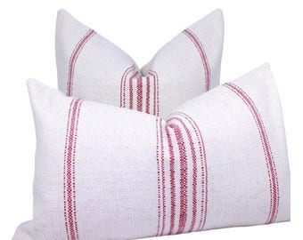 Cotton Off White Pillow in Red Primitive stripes. Lumbar Cotton Off White Pillow in Red Stripes.