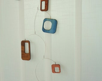 Mid century modern Mobile, Wooden  Hanging Mobile,