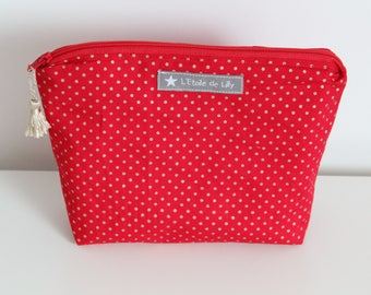 Small toiletry bag red small Golden dots - Christmas gift