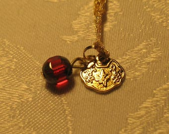 Good Luck and Long Lasting Love Amulet Omamori Talisman Charm with Red Crystal and Gold Cord