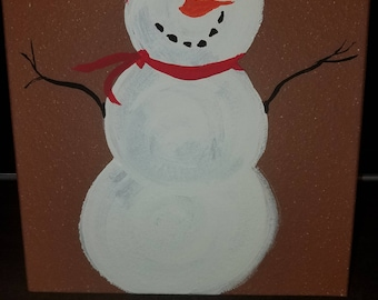 Hand Painted Clay Tile - Snowman Christmas