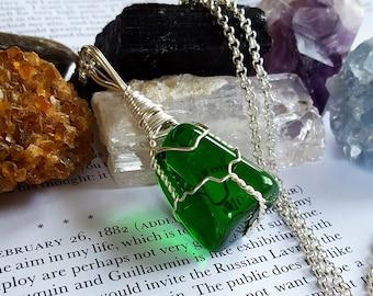Wire Wrapped GAIA Stone (Green Obsidian) Positive Healing Reiki Energy Crystal Necklace Boho Chic Magic Wicca Gypsy Bohemian Jewelry GO2717