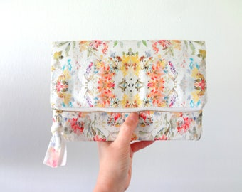 NEW! Watercolor Floral Clutch, Designer Watercolor Fabric, Foldover Clutch, Bags, Painterly Clutch