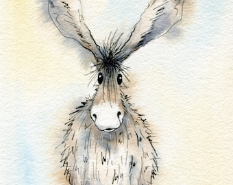 Limited edition print - Norah the donkey, donkey print, donkey picture