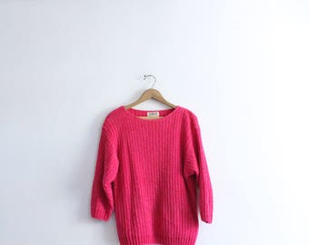 Hot Pink Chenille 90s Sweater