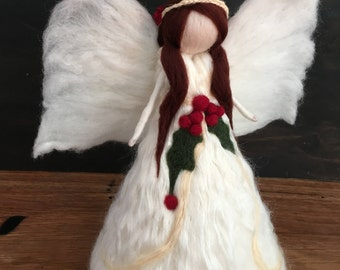 Angel Tree Topper, Needle felt Waldorf Christmas-holly