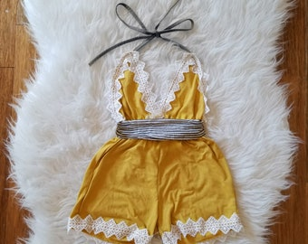 Little Miss Mustard - Yellow and Charocoal Halter top Romper