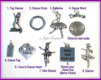 Dance Charm, Silver Dance Pendant, Your choice Tap Dancer, Circle, I love Dance, Irish Dancer, Ballerina, Dance your Heart out single ballet