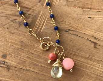 Lapis and Gold Anklet