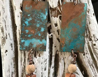 Copper patina rustic earrings with semiprecious stones.