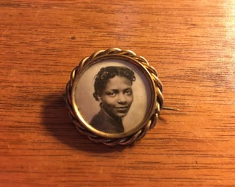 Beautiful Antique Portrait Pin, Mourning Brooch