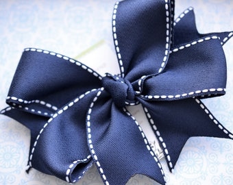 All Stitched Up...Navy XL Diva Bow