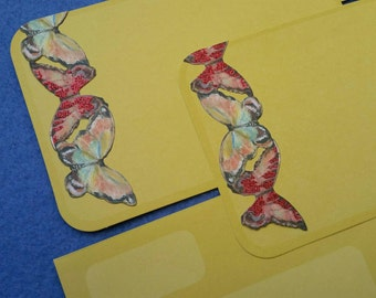 Two Die Cut Flat Blank Cards with Glitter Butterfly Accents mustard yellow
